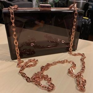 Acrylic Box Clutch/Purse Amber and Rose Gold